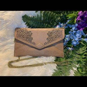 Brown Clutch with a Gold Chain Strap